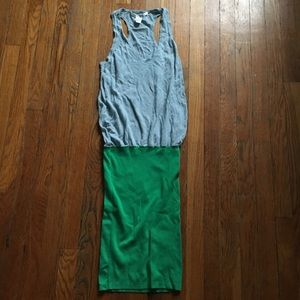 DVF Blue & Green Color Block Long Knit Dress